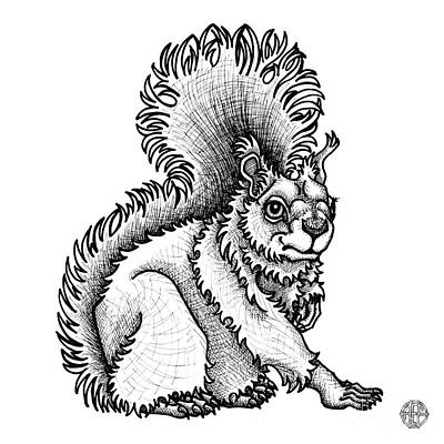 Drawing - Red Squirrel by Amy E Fraser
