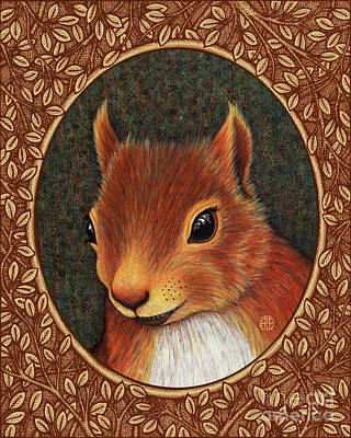 Painting - Red Squirrel Portrait - Brown Border by Amy E Fraser