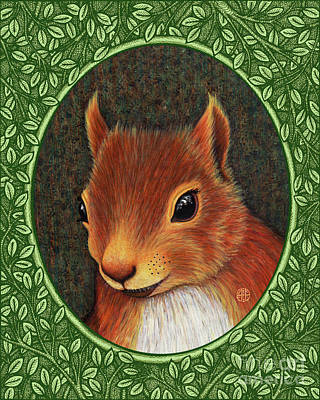 Painting - Red Squirrel Portrait - Green Border by Amy E Fraser