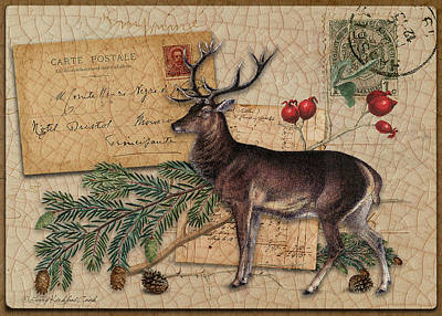 Digital Art - Red Stag And Berries by Terry Kirkland Cook