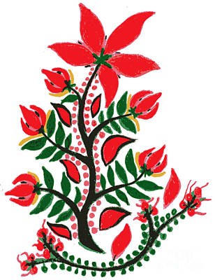 Drawing - Red Summer Flower by Anthony Mrugacz
