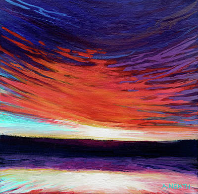 Wall Art - Painting - Red Sunset 2 by Alison Newth