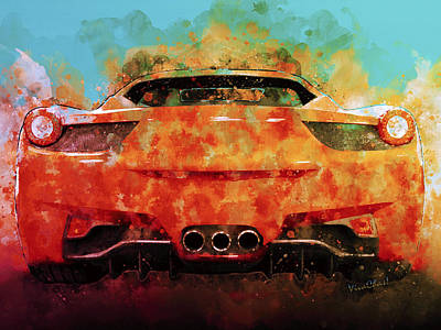 Digital Art - Red Supercar Makes Happy Faces And One Sinister Grrrr Face by Chas Sinklier