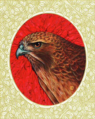 Painting - Red Tailed Hawk Portrait - Cream Border by Amy E Fraser