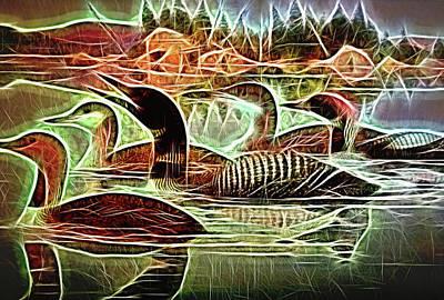 Digital Art - Red Throated Loon Birds by Cindy Boyd