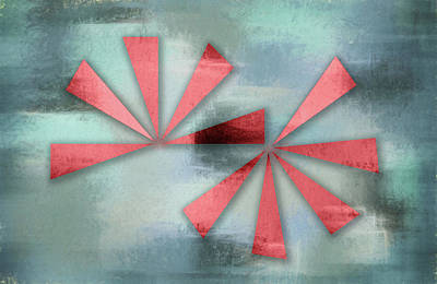 Red Triangles On Blue Grey Backdrop Art Print