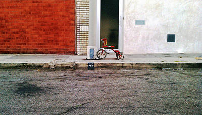 Photograph - Red Tricycle On Sidewalk by Kevin Dean / Betaart