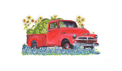 Painting - Red Truck Express by Kathleen McElwaine