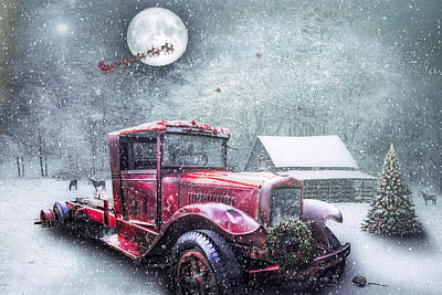 Photograph - Red Truck On Christmas Eve In The Snow by Debra and Dave Vanderlaan