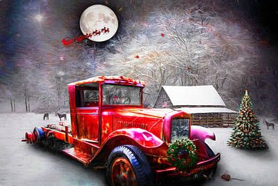 Photograph - Red Truck On Christmas Eve Painting  by Debra and Dave Vanderlaan
