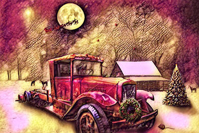 Digital Art - Red Truck On Christmas Eve Reds And Golds by Debra and Dave Vanderlaan