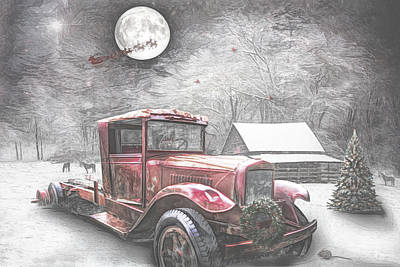 Photograph - Red Truck On Christmas Eve Sketch by Debra and Dave Vanderlaan