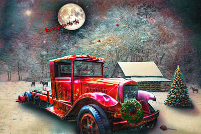 Photograph - Red Truck On Christmas Eve Watercolors by Debra and Dave Vanderlaan