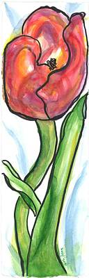 Still Life Royalty-Free and Rights-Managed Images - Red Tulip by Zola Jean Sherwood