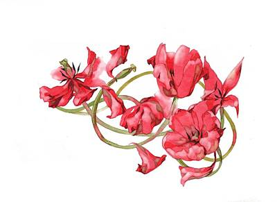 Painting - Red Tulips Vignette by Ina Petrashkevich