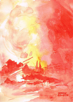 Painting - Red Village Abstract 1 by Andrew Gillette