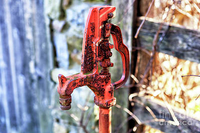 Photograph - Red Water Pump In Bethlehem by John Rizzuto