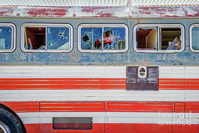 Photograph - Red White And Blue Usa Flag Painted Bus by Wendy Fielding