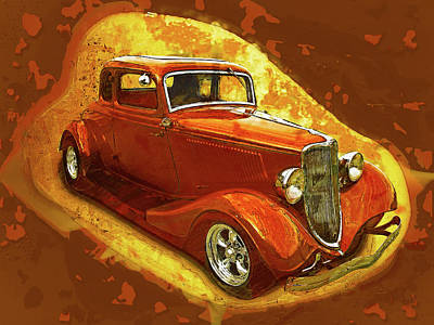 Digital Art - Redorange 1934 Ford by Rick Wicker