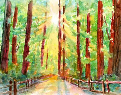 Painting - Redwoods And Sunshine by Carlin Blahnik CarlinArtWatercolor