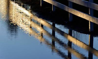 Photograph - Reflected Fence At Sunrise by Jerry Sodorff