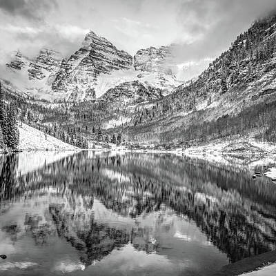 Photograph - Reflected Perfection - Maroon Bells Peaks In Monochrome by Gregory Ballos
