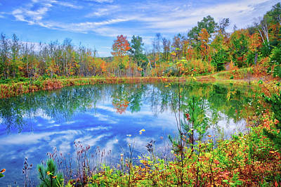 Art Print featuring the photograph Reflecting On Fall At The Pond by Lynn Bauer