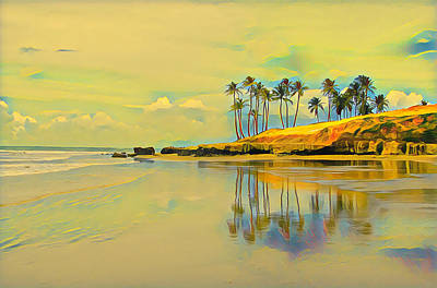 Digital Art - Reflection Of Coastal Palm Trees by Clive Littin