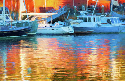 Photograph - Reflections At Dusk In Camden Harbor, Maine by Anita Pollak