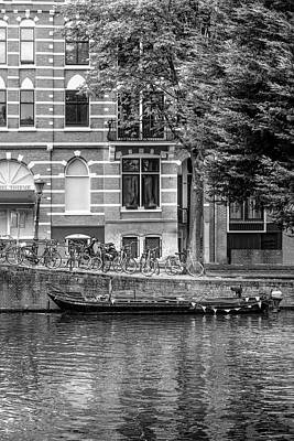 Photograph - Reflections In Amsterdam Black And White by Debra and Dave Vanderlaan