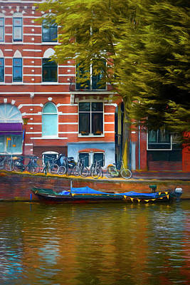 Photograph - Reflections In Amsterdam Painting by Debra and Dave Vanderlaan