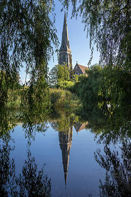 Photograph - Reflections of St. Alban's Church by Steve Boyko