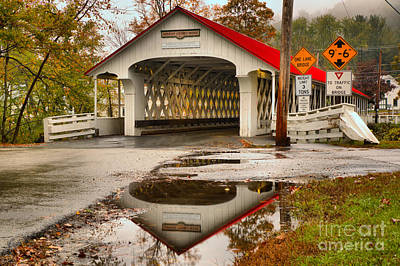 Photograph - Reflections Of The Ashuelot Covered Bridge by Adam Jewell