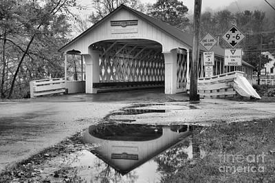 Photograph - Reflections Of The Ashuelot Covered Bridge Black And White by Adam Jewell