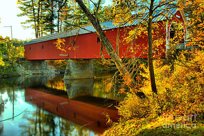 Photograph - Reflections Of The Cresson Coverd Bridge by Adam Jewell