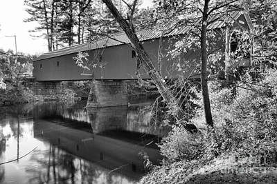 Photograph - Reflections Of The Cresson Coverd Bridge Black And White by Adam Jewell
