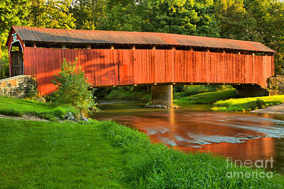Photograph - Reflections Of The Enslow Covered Bridge by Adam Jewell