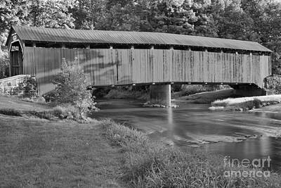Photograph - Reflections Of The Enslow Covered Bridge Black And White by Adam Jewell
