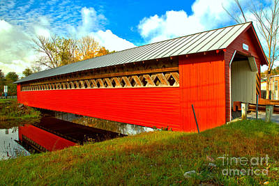 Photograph - Reflections Of The Paper Mill Covered Bridge by Adam Jewell