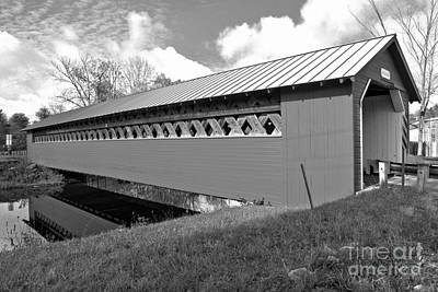 Photograph - Reflections Of The Paper Mill Covered Bridge Black And White by Adam Jewell