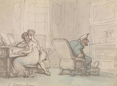 Drawing - Reflections, Or The Music Lesson by Thomas Rowlandson