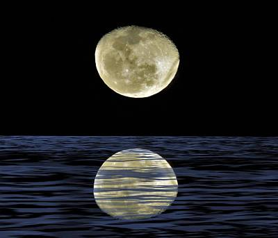 Mixed Media - Reflective Moon by Joan Stratton