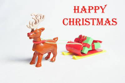 Photograph - Reindeer Sleigh - Happy Christmas by Helen Northcott