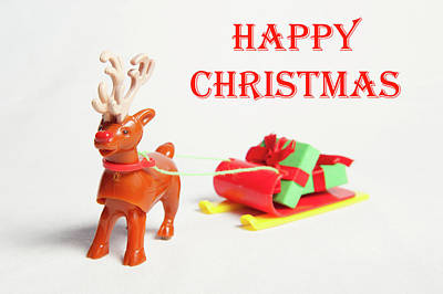 Photograph - Reindeer Sleigh - Happy Christmas II by Helen Northcott