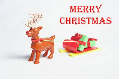 Photograph - Reindeer Sleigh - Merry Christmas by Helen Northcott