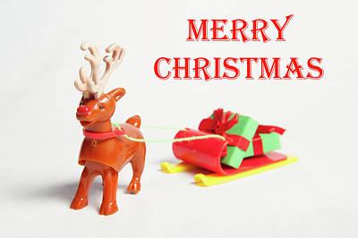Photograph - Reindeer Sleigh - Merry Christmas II by Helen Northcott