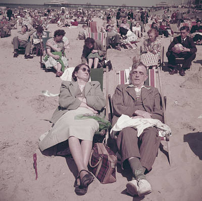 Photograph - Relaxing On Southend Beach by Bert Hardy