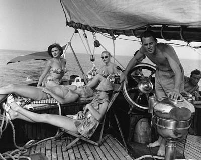 Photograph - Relaxing On Yacht by Bert Hardy