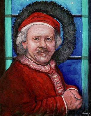 Painting - Rembrandt Santa by Tom Roderick