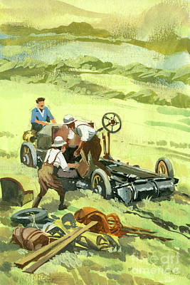 Painting - Repairs During Ten Thousand Mile Motor Race  by Ferdinando Tacconi